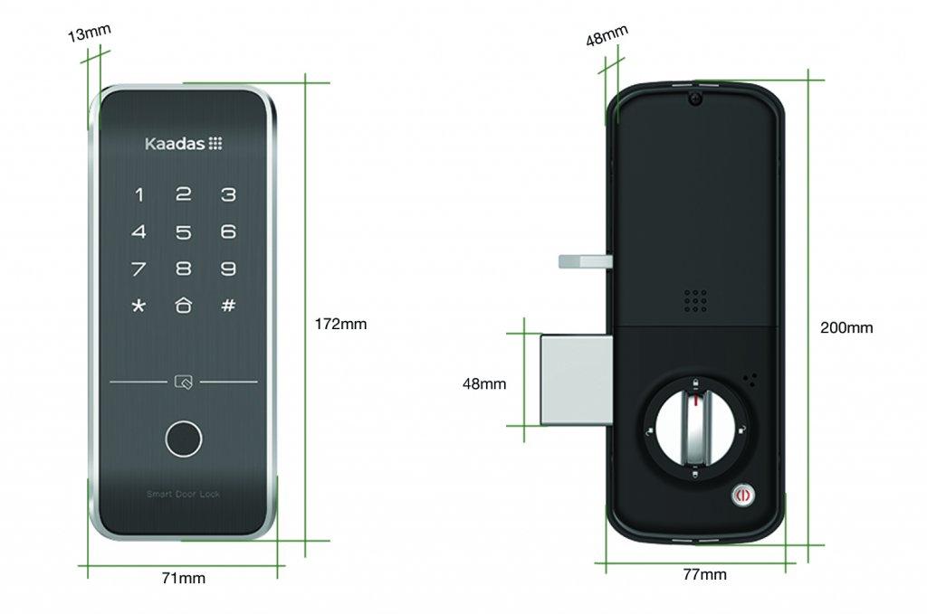 Kích thước khóa mã số thẻ từ Kaadas R7