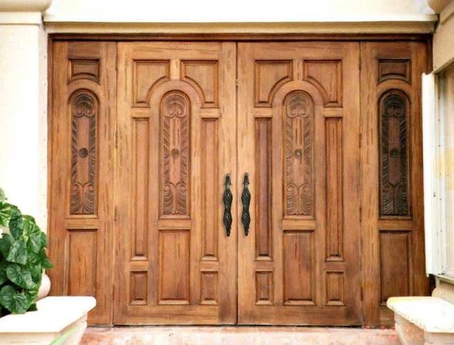 Mẫu cửa gỗ 4 cánh mặt tiền đẹp hiện đại
