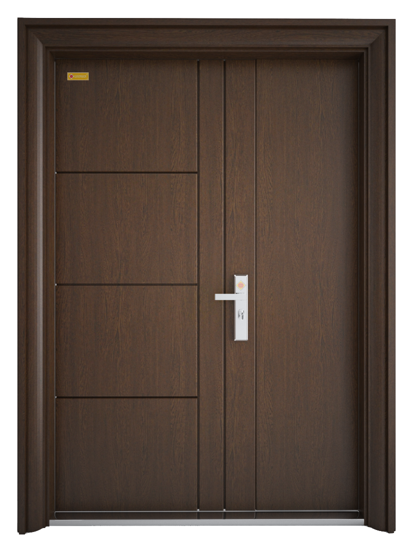Mẫu cửa sắt giả gỗ thông phòng