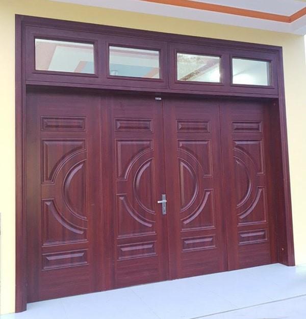 Mẫu cửa sắt giả gỗ 4 cánh đẹp