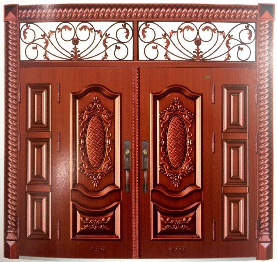 Mẫu cửa thép 4 cánh vân gỗ cho cửa chính đẹp nhất  KAADASVN