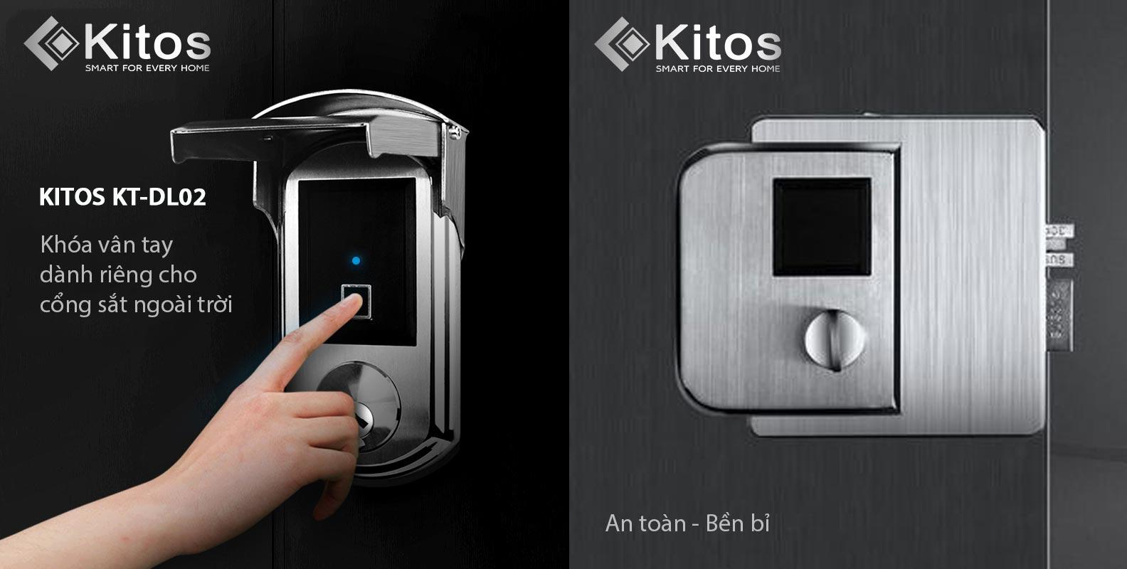 Khóa cửa cổng vân tay chống nước Kitos KT-DL02